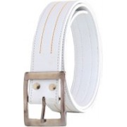 Elligator Men Casual, Party, Formal White Artificial Leather Belt