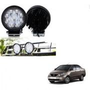 Auto Addict DEVICE 4 inch 9 LED 27Watt Round Fog Light with Flood Beam Auxiliary Lamp Set Of 2 Pcs For Tata Indigo