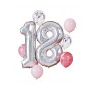 Deguisetoi Kit ballons 18 ans argenté et rose
