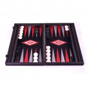 Set joc table backgammon stejar negru cu linii argento 48x60 cm