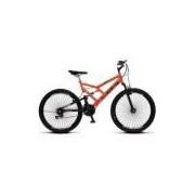 Bicicleta Colli Fulls GPS Laranja Dupla Susp. Aro 26 Aero 72 Raios 21 Marchas Freios V-Break