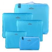 HOMEBASICS 5 in 1 Sky Blue Easy Travel Bag Organizer Set of 5 Bags Assorted Sizes - Sky Blue Color