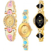 Varni Retail GoldPink Oval Diamond Gold Dial Cross Rectangle Black Dial Side Dmd 3 Combo Watch For Girls
