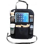 Auto organizer met tablethouder - Autostoel organiser met tabletvak - iPad houder auto – Zwart
