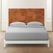 Roquette Rattan Headboard Queen + White Metal Frame by CB2