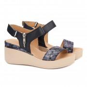 Sandale dama cu platforma din piele navy 2171