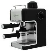 Espressor Samus Caffeccino Black, 3.5 bari, Rezervor 0.24 L, Capacitate 4 ceşti, Filtru inox, Duză cappuccino, Carafă gradată, Negru/Inox