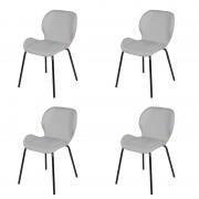 QAZQA Set 4 sedie sala da pranzo tessuto grigio chiaro con gambe in acciaio - POSA