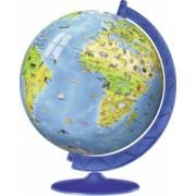 Puzzle 3D globul pamantesc geografic cu desene de monumente celebre si animale salbatice 7 ani+ Topi Dreams