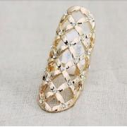 Inel lat, pe tot degetul, auriu cu cristale albe