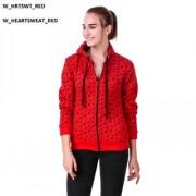 Women Red Heart Sweatshirt