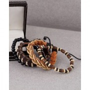 Dare by Voylla Black Brown Beads and Leather Bracelet for Men