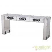 Consola LUX design modern din metal cu manere din piele CATALINA aluminiu/ negru 105957 HZ
