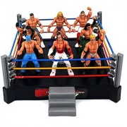VT Mini Combat Action Wrestling Toy Figure Play Set w/ Ring 8 Toy Figures