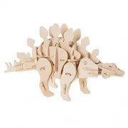 Hey! Play! 3D Wooden Stegosaurus Puzzle-Dinosaur Building Model-Clap Activated Sound and Motion Toy- Fun STEM Learning Activity for Boys and Girls
