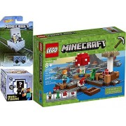 Buildable Minecraft Hot Wheels MineCart + Collectible Figure Mystery Blind Box series 5 Ice Minecraft Car HW Ride-Ons - LEGO Minecraft Mushroom Island with Creeper & Alex