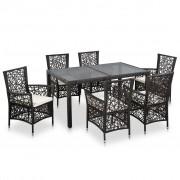 vidaXL Set mobilier de exterior, 7 piese, poliratan, maro
