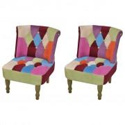 """vidaXL """"Patchworkowy fotel w stylu francuskim, z oparciem x2"""""""