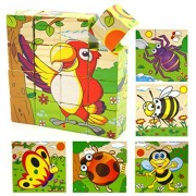 Joyeee 16 Pcs Wooden Cube Block Jigsaw Puzzles - Parrot & Insect Pattern Blocks Puzzle for Child 3 Year and Up -- Perfect Christmas Gift Idea