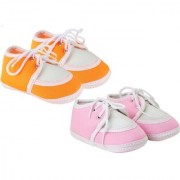 Neska Moda Pack Of 2 Baby Infant Soft Orange and Baby Pink Booties For Age Group 0 To 12 Months SK136andBT9