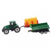 Toi-toys groene tractor met aanhangers groen/geel 7,5 cm