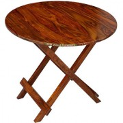 BM WOOD FURNITURE DINING Table Patio Garden And Outdoor Furniture Round Top Folding Table - Brown