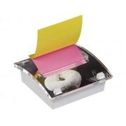 DISPENSER MILLENIUM ART POST-IT PT. NOTES AUTOADEZIV 76X76 mm, roz/galben neon Cub notes cu suport 76x76 mm asortate