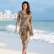 Holiday Dress, 3⁄4-sleeves (without Hip Wrap), 10S - Leopard