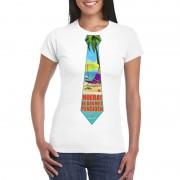 Shoppartners Pensioen t-shirt wit dames met stropdas