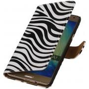Samsung Galaxy A7 2015 A700F Hoesje Zebra Bookstyle Wit