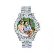 JunMei Reloj Bling Personalizado con su Propia Imagen, Reloj de Diamantes para Hombre Relojes de Iced out Hip Hop Joyería de Moda para Mujer Personalizado Cualquier Foto