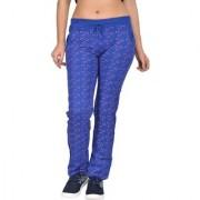 Be You Fashion Women Cotton Hosiery Royal Blue Printed Track Pants