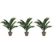 Mica Decorations 3x Areca palm kunstplanten groen 40 cm in pot