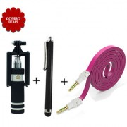 Combo of Mini Selfie Flat Aux Cable Touch Screen Stylus Pen - Assorted Color
