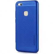 Husa telefon hurtel Carbon Slim Armor magnetyczne etui pokrowiec z wbudowaną metalową płytką Huawei P10 Lite niebieski