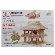 Wooden 3D Puzzle Board Games - Dia Bamboo Houses B (1c634) - Jigsaw Toys, Puzzles & Logical Games