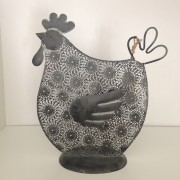 Decorazione di Pasqua ornamentale a forma di pollo, grande, colore grigio scuro