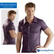 Svenjoyment Croc Foil Press Stud Waisted Elastic Short Sleeved Shirt Blackberry/Black 2160692
