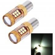 2 Pcs 1156 15W 1300lm 28 Smd-3030 6500K LED Coche Luces De Freno Luz De La Vuelta, DC 12V (luz Blanca)