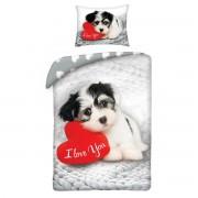 Lenjerie de pat din bumbac pentru copii Love Dog, 140 x 200 cm, 70 x 90 cm