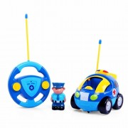 edealing(TM) Remote Control RC Cartoon Police Car Music Light Radio Control Toy for Toddlers Kids Children