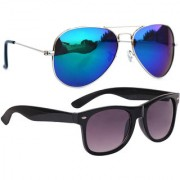Combo of Sunglasses With Blue Mirror Aviator and Black Wayfarer