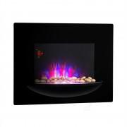 Klarstein Feuerschale, електрическа камина за стена, 1800 W, симулация на пламъка, декоративни камъни, черен цвят (FP1-Feuerschale)