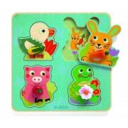 Drewniana układanka Croc-carrot, puzzle dla dziecka ZWIERZĄTKA DOMOWE I ICH PRZYSMAKI 12 miesięcy DJECO DJ01048
