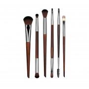 EY 6 Pcs Pinceles De Maquillaje Cosmético Polvo Facial Blusher Foundation Brush-Brown