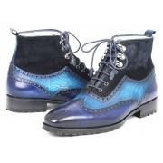 Paul Parkman Leather Wingtip Boots Blue Suede 971-BLU