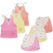 Jo kids wear Baby Girl Cotton Dress Set (Top and Skirts) Multi Color Set of 3