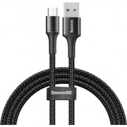 Cablu de date/incarcare Baseus, Halo Durable Nylon Braided, Micro USB 1M, 3 A, Negru