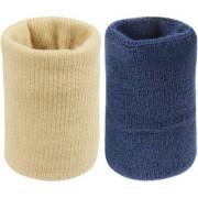 Neska Moda Unisex Beige And Navy Pack Of 2 Cotton Wrist Band