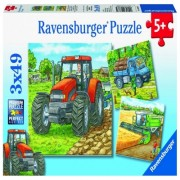 Puzzle utilaje agricole, 3x49 piese Ravensburger